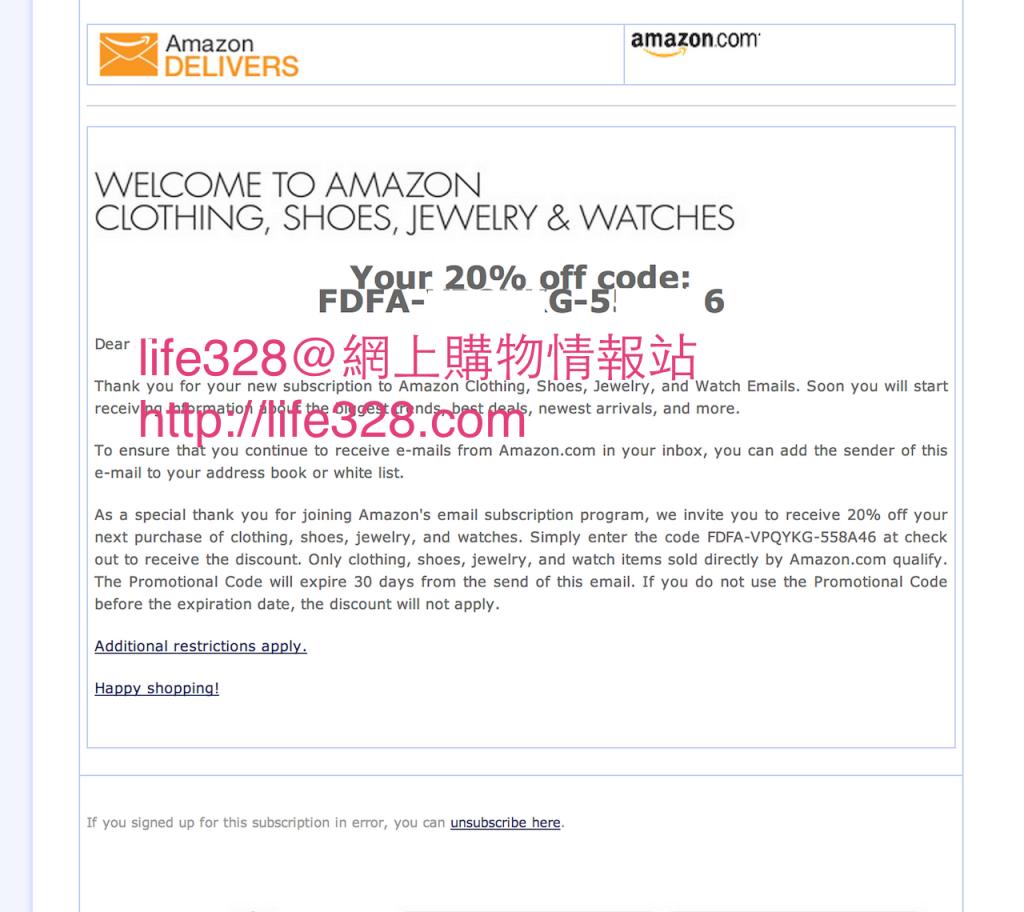 Amazon 八折 Code